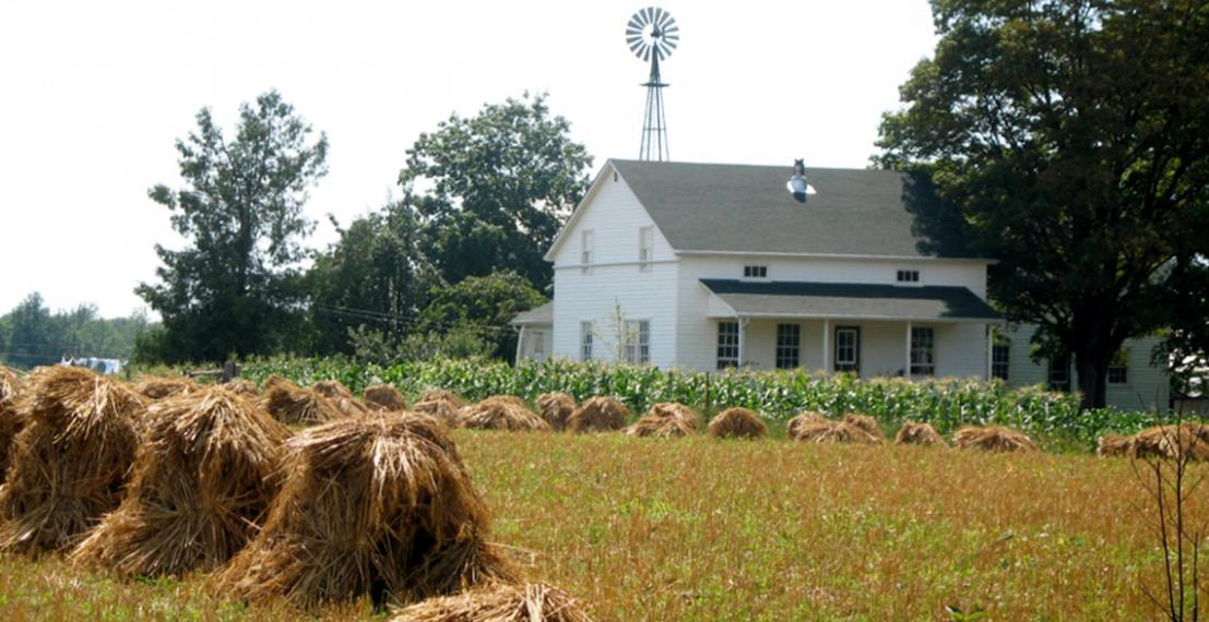 Hay is stacked in a field in front of a white house with a windmill in the background.