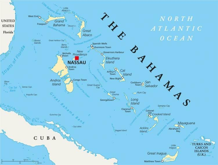 Map of The Bahamas.
