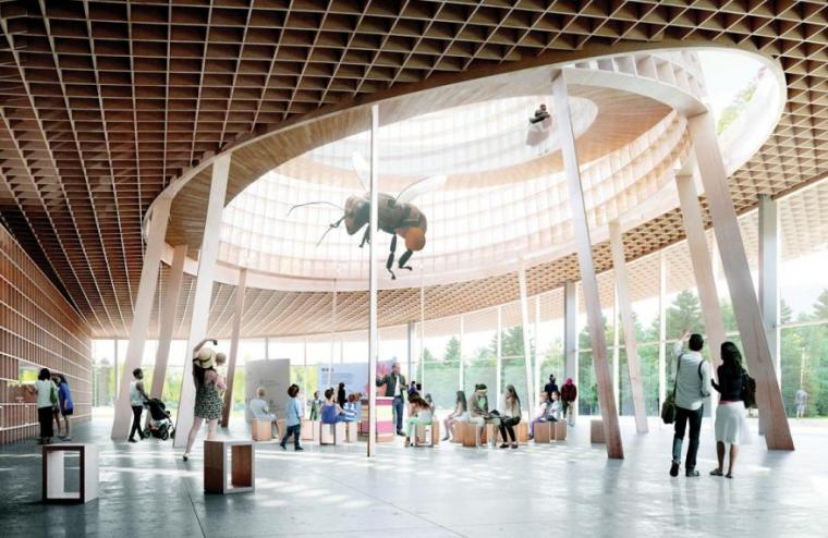 Design rendering of a room with a large cut out of the ceiling and a large honey bee hanging from the opening. People looking up at the bee.