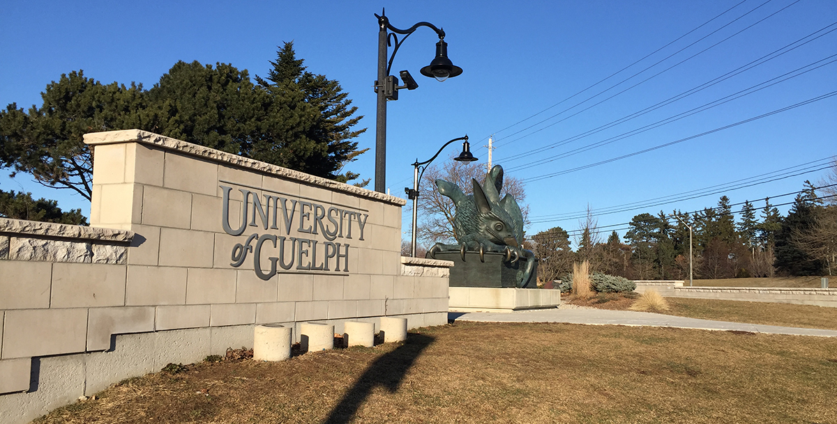 Entrance sign and Gryphon at University of Guelph