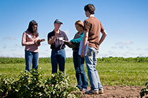 Students and prof stand in field looking at notebooks