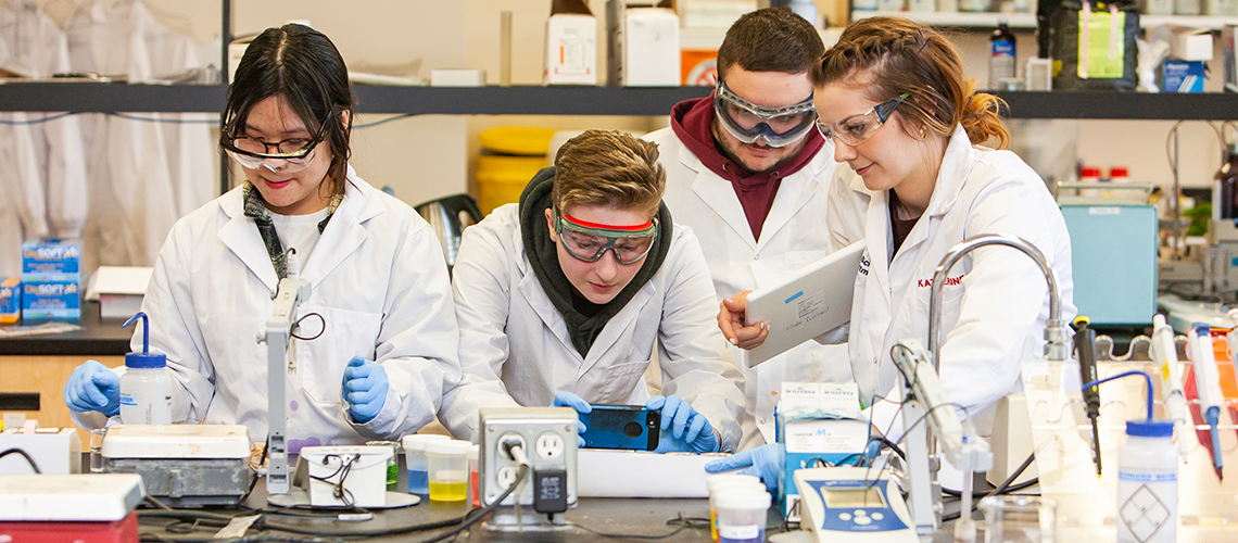 Four students working in a lab.