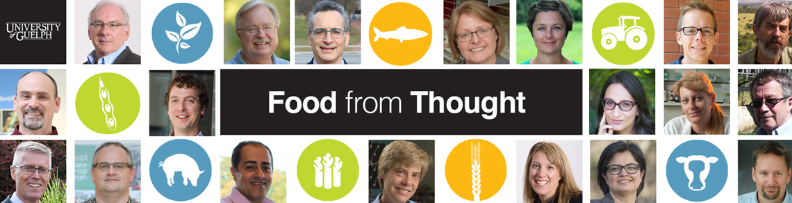 "Collage of researchers' faces and icons representing food. Words ""Food from Thought"""