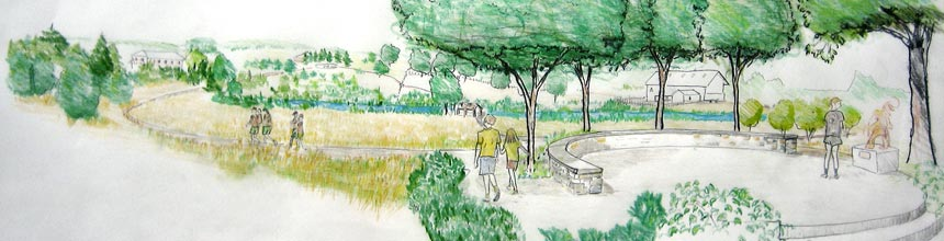 Landscape drawing of people in a park