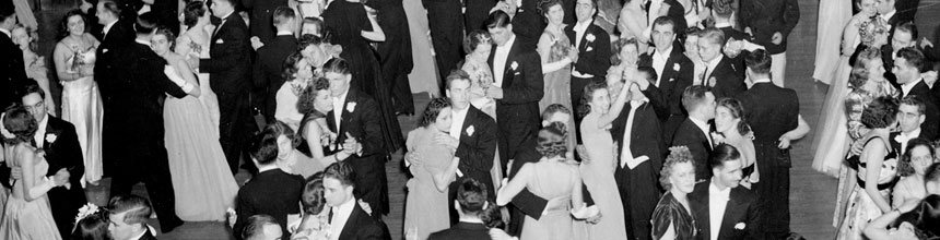 Photo from the 1940's of students dancing at the Conversat Ball