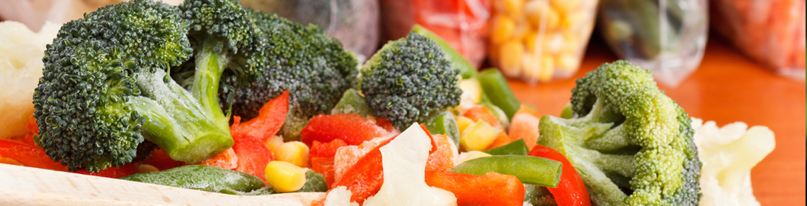 Frozen broccoli and peppers