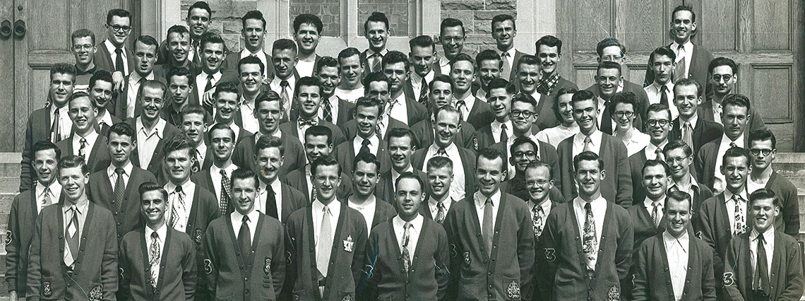 OAC 53 Classmates stand on the steps of War Memorial Hall