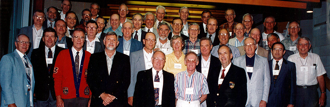 Class of '53 classmates at at a reunion in 1973