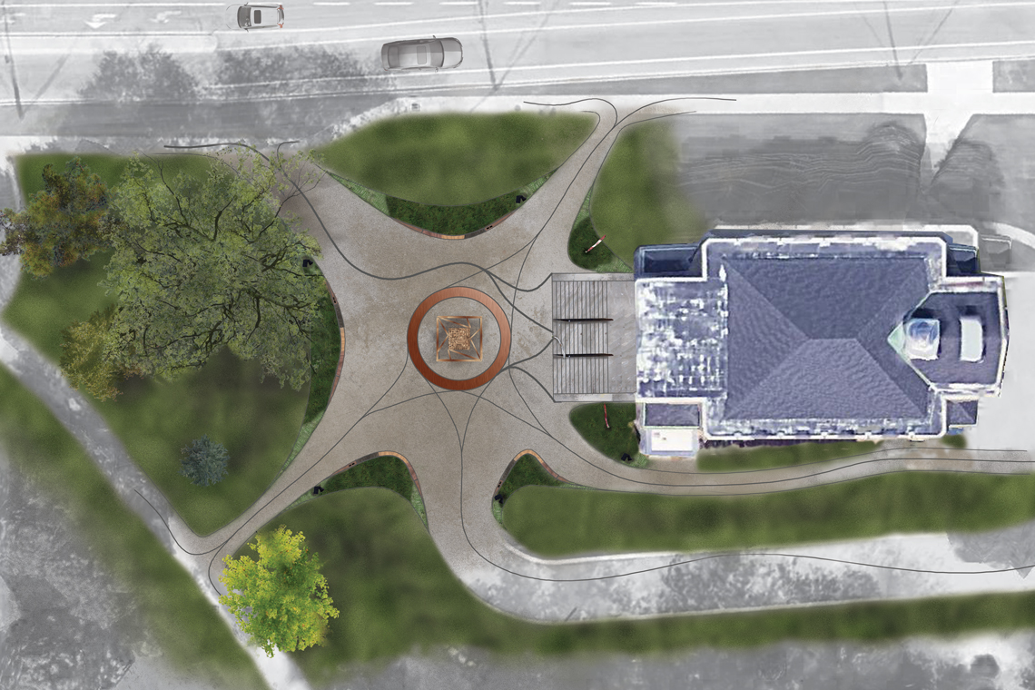 Rendered design of a bird's-eye view of War Memorial Hall.