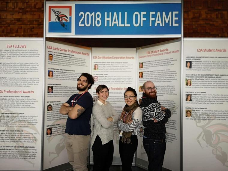 Matthew Muzzatti, Cassie Russell, Jenny Liu and Charles-Etienne Ferland pose in front of backdrop that says 2018 Hall of Fame