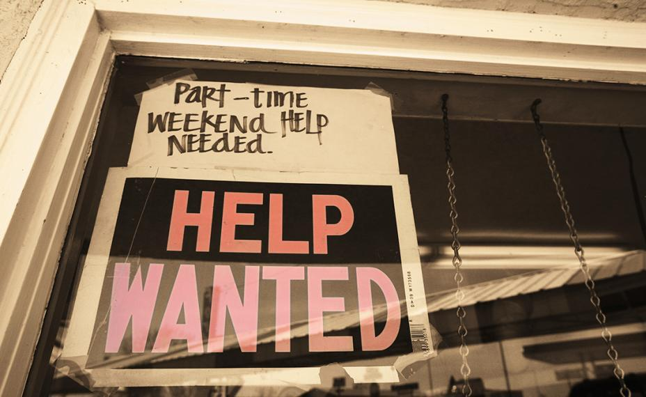 "Help Wanted sign with note that says ""Part-time weekend help needed"""
