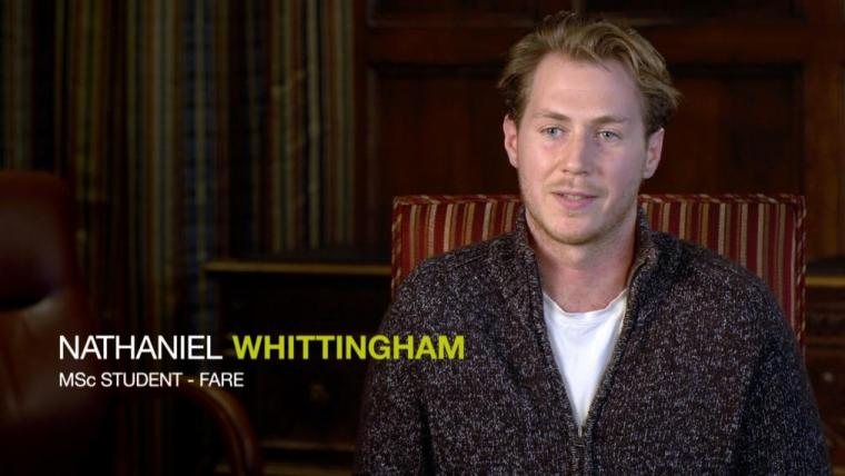 """Nathaniel Whittingham sitting in chair, overlay text of his name and """"MSc student - FARE"""""""