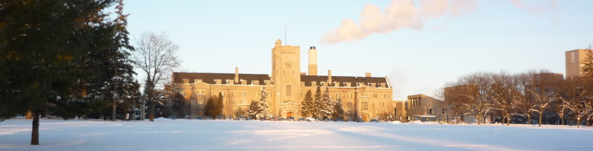 Johnston Hall in the winter with sun shining