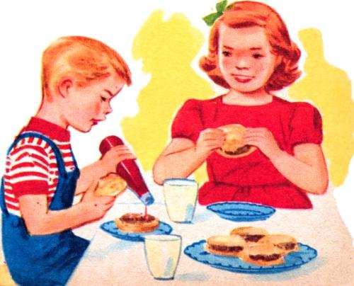 retro kids eating