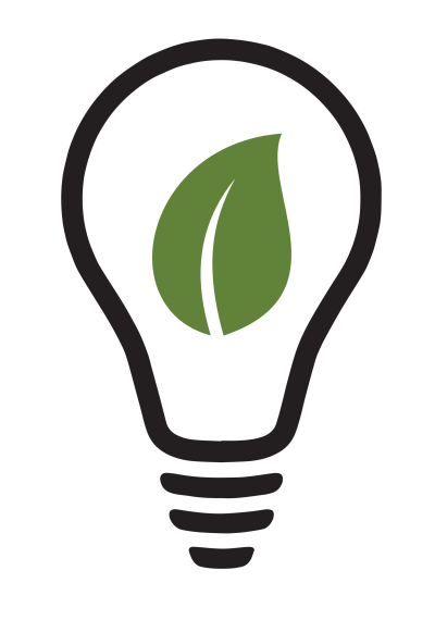 Illustration of a lightbulb with a green leaf within it