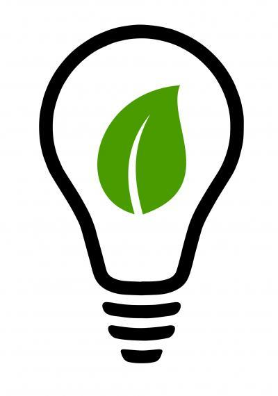 Illustration of a lightbulb with a green leaf inside