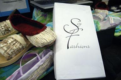 footwear created using soy fabric