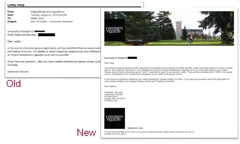 An example of the old Colleague emails in plain text and an example of the new Colleague emails, which have an image at the top, University of Guelph branding, and other improvements.