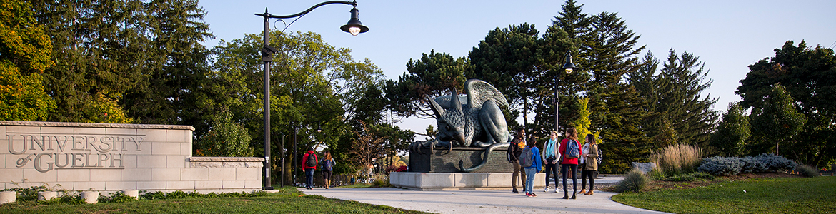 Gryphon statue on the University of Guelph campus