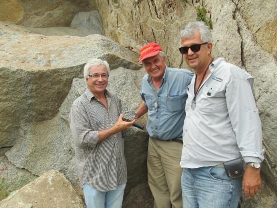 Dr. Jose Coelho (EMRAPA), Dr. Peter van Straaten (University of Guelph), and Dr. Carlos Santos (CPRM, Geological Survey of Brazil) on joint field trip to special rock formation (shoshonite) in Pernambuco State.