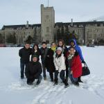 Science without Borders students standing in the snow on Johnston Green.