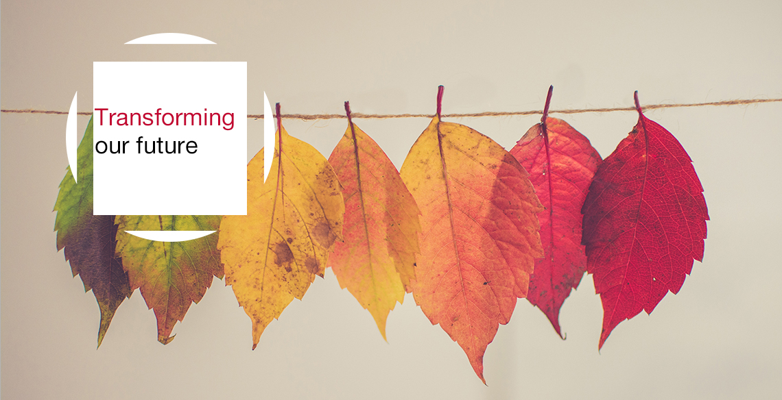 Fall leaves pinned along a string with the text overlay 'transforming our future'