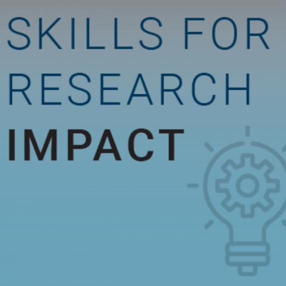 Skills for Research Impact text on blue background