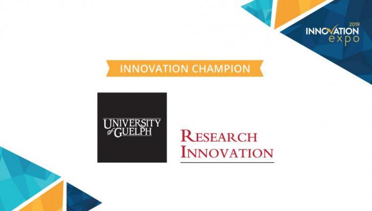 Innovation Champion Sponsor text with UofG Cornerstone/Research Innovation unit logo