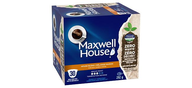 Box of Maxwell House Compostable Coffee Pods