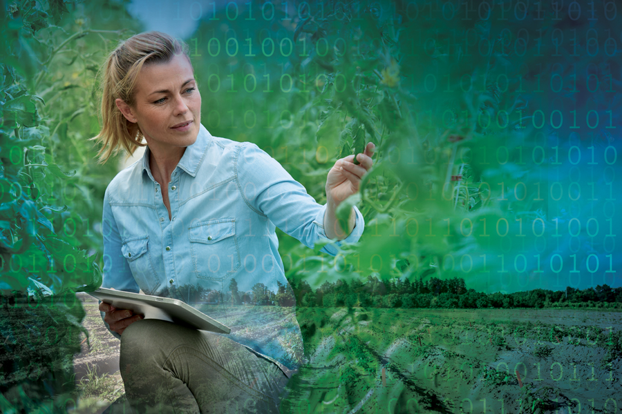 Image of woman holding iPad surrounded by plants