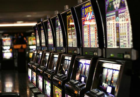 A row of slot machines