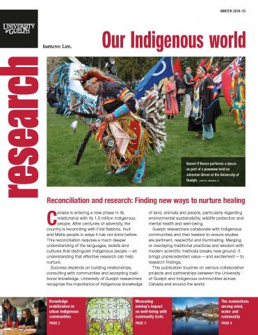 The cover of the four-pager. The main photo is of participants and viewers at a pow wow on a grassy area. Text is below the photo
