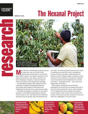 Cover of the hexanal four pager - photo of grad student picking nectarines