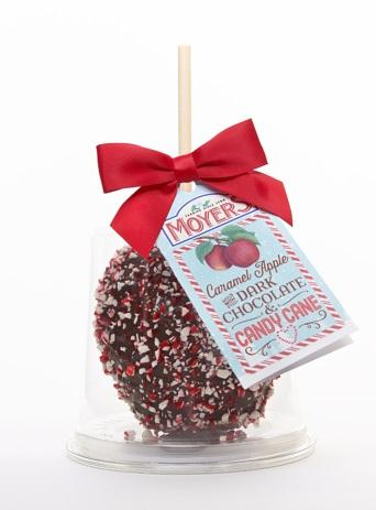 Photo of a Moyer candy apple covered in chocolate and candy cane sprinkles.