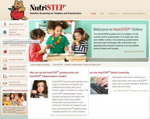 Screen shot of the NutriStep® website