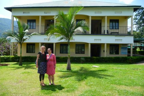 Kate Bishop-Williams (right) and research assistant Vivienne Steele are pictured here in Uganda, one of their climate change research locations.