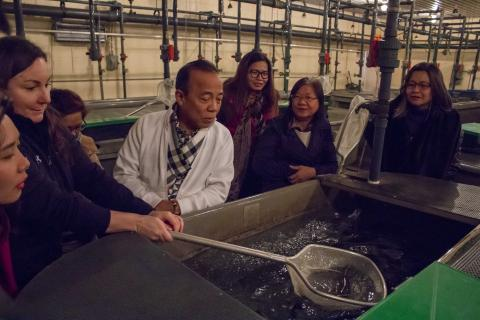 Seven people stand around a large fish tank.  The tour guide holds a fish net with a rainbow trout in it.