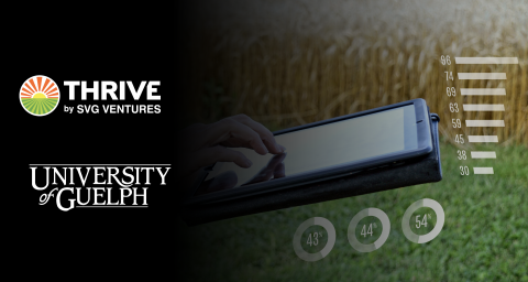 Montage: SVG Thrive Logo, U of G Logo, woman standing in front of a field with her hand on a laptop.