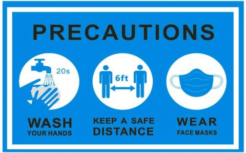 An infographic that says to wash your hands, keep a safe distance and wear face masks
