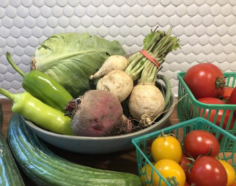 Ontario produce on a counter - tomatoes in green plastic baskets, cabbage, cucumbers parsnips and beets in a bowl