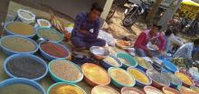 Two people sitting around bowls of grain and seed