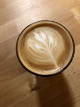 Overhead view of a latte