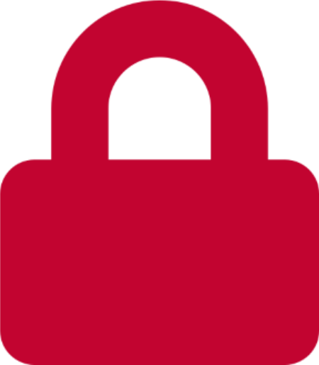 Red graphic of a lock