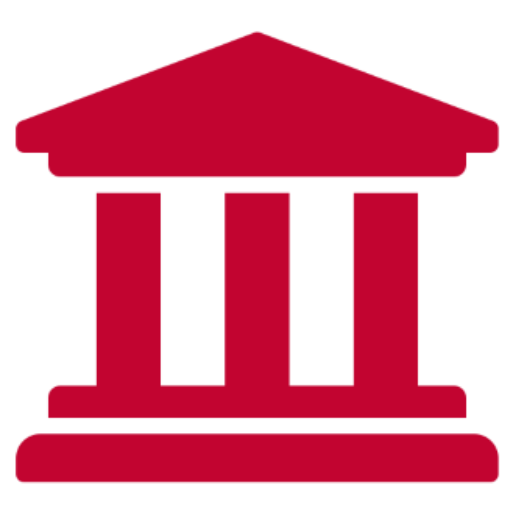 Red graphic of Hellenic-style building with three columns