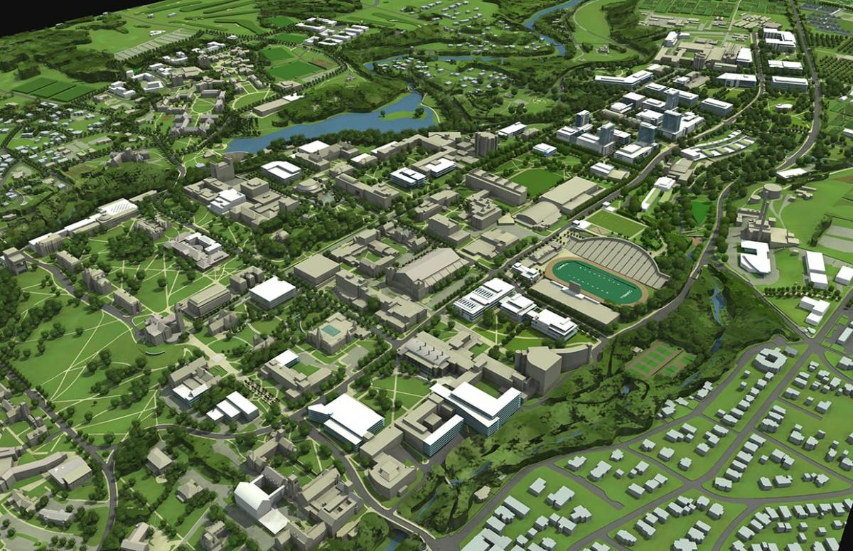 View of Cornell Campus on 3-D map