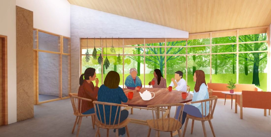 Illustration of people gathered around a large table