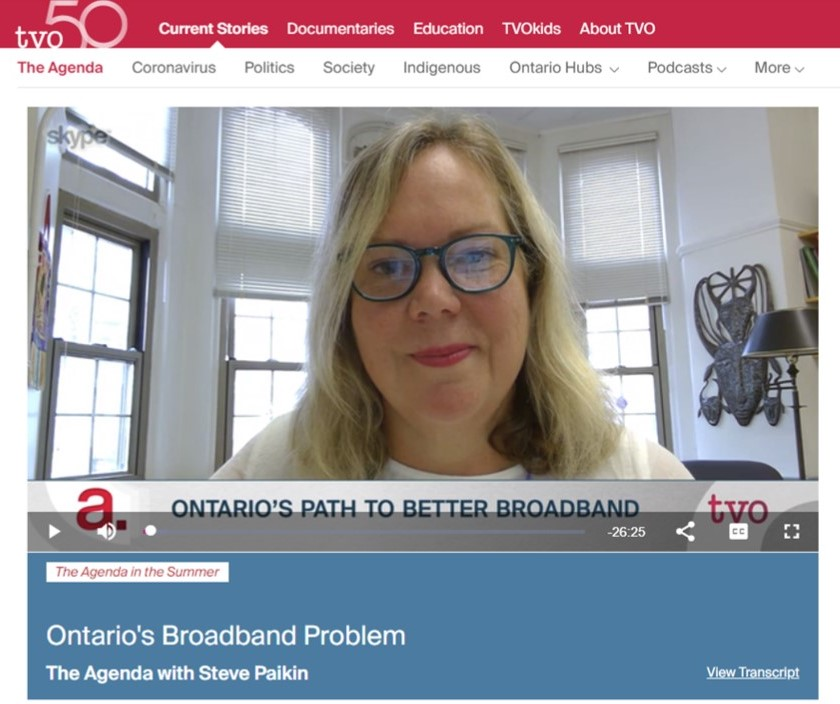 Screen shot of Prof. Helen Hambly in office for TVO interview