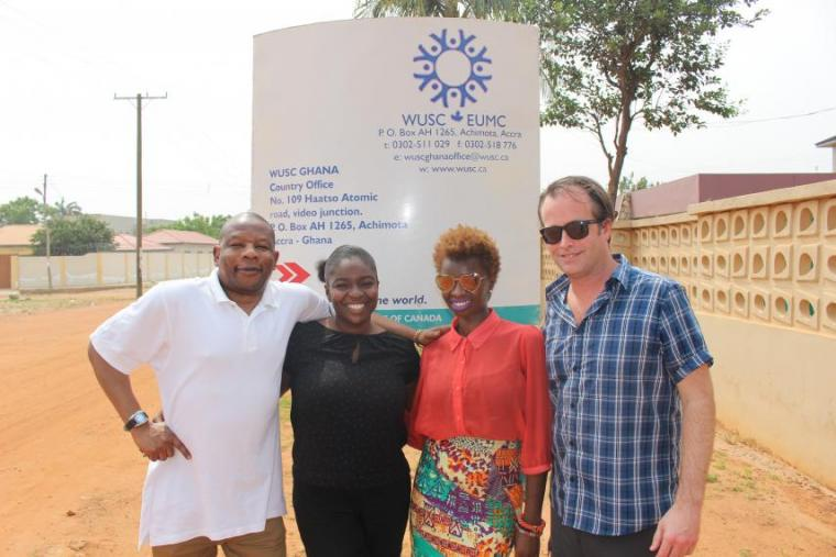 Office staff in front of the World University Services of Canada Office in Ghana