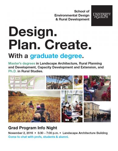 Poster entitled Design. Plan. Create. (with image boxes)
