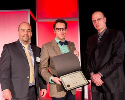 University of Guelph student, Emilio Martinez Lara (centre) receives first place award from George Lourenco (left) and James Gordon (right)